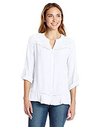 9e7fb923f71de7 Notations Womens SLD Ls Roll Up to 3/4 SLV Button Down Blouse Lace Front