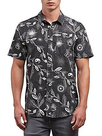 Volcom Mens Broha Short Sleeve Button Up Hawaiian Shirt, Black, XL