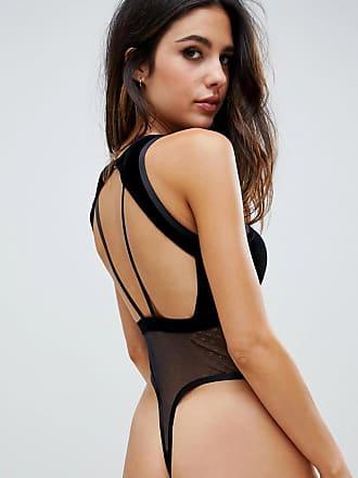 f50ff9a28c2bc Asos Tall ASOS DESIGN Emma velvet   lace bodysuit - Black