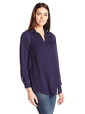 Foxcroft Womens Long Sleeve Ivy Blouse, Navy 14