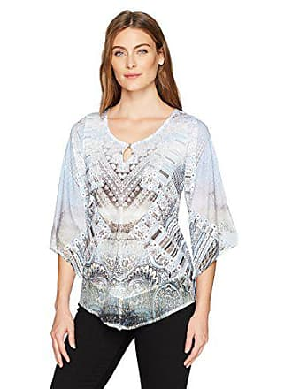 Oneworld Womens 3/4 Sleeve Knit Peasant Top with Woven Contrast Hem, Translucent Limits- Purity XL