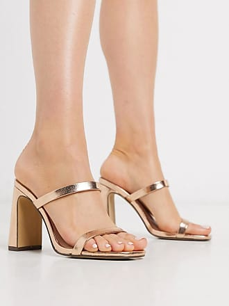 Qupid Qupid strappy heeled mules in rose gold-Copper