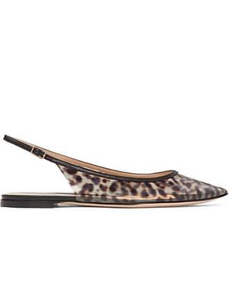 465ba58ac0ba Gianvito Rossi Patent Leather-trimmed Leopard-print Pvc Slingback Point-toe  Flats -