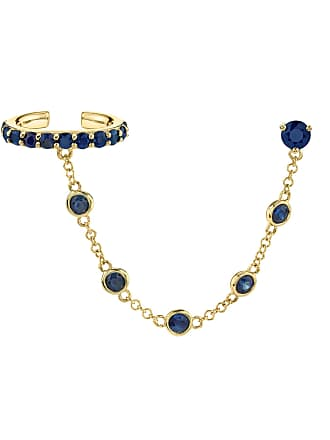The Last Line Blue Sapphire Bezel Connected Cuff Earring