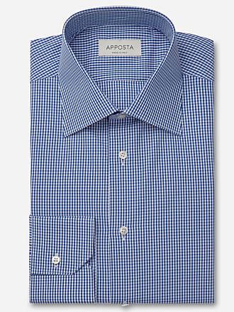 Apposta Camicia quadri piccoli blu 100% puro cotone tela doppio ritorto, collo stile collo francese aggiornato a punte corte