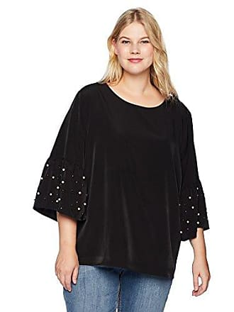 Calvin Klein Womens Plus Size Bell Sleeve Blouse with Pearls, Black 0X