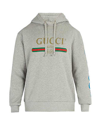 Gucci Gucci Dragon And Logo Hooded Sweatshirt - Mens - Grey 8f41937be9