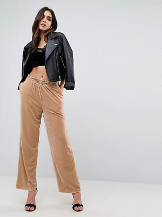 Asos ASOS Wide Leg Velvet Sweatpants with Elastic Cord - Cream