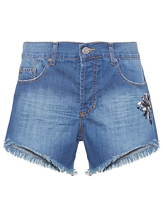 Animale SHORT FEMININO BORDADO FLOR - AZUL