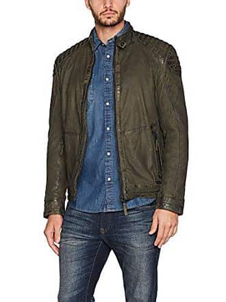 04c2639755d Mustang Leather MU-M17-Chaqueta Hombre Verde (Dark Olive 3009) L