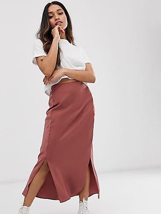 9552055e7b72f Asos Petite ASOS DESIGN Petite bias cut satin midi skirt with splits - Brown