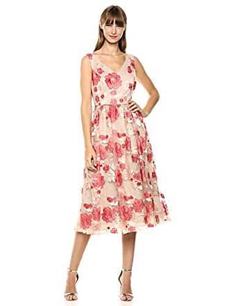 Calvin Klein Womens Sleeveless V-Neck Embroidered Party Dress, Porcelain Rose Multi, 12