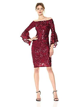 bc8f73acb6b Betsy   Adam Womens Short Off The Shoulder Sequin Bell Sleeve
