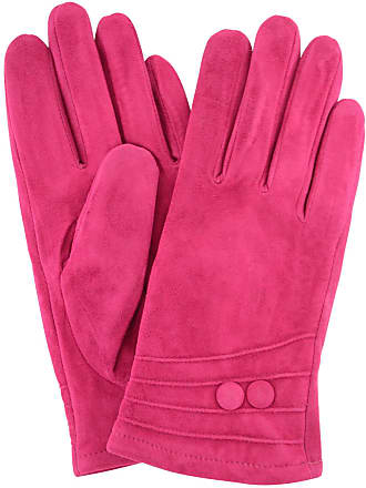 b0089096ccba SNUGRUGS Ladies Suede Gloves with Fleece Lining and Two Button Design -  Fuschia Pink - X