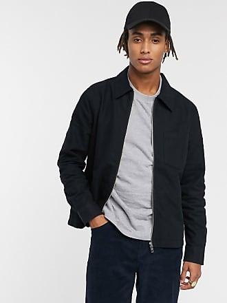 Weekday Ahmed - Schwarze Flanell-Jacke mit Reißverschluss