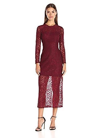 Cynthia Rowley Womens Delicate Lace Fitted Dress, Burgundy, 0