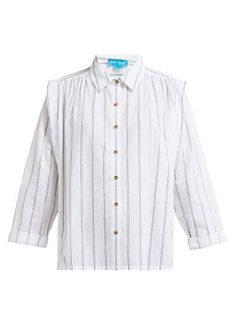 Mih Jeans Arley Jacquard Striped Pleated Shoulder Shirt - Womens - White
