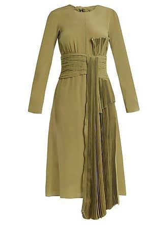 Rochas Pleated Drape Silk Crepe De Chine Dress - Womens - Green