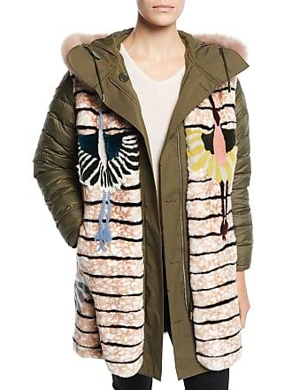 Yves Salomon - Army Reversible Intarsia Parka Coat w/ Fur Trim