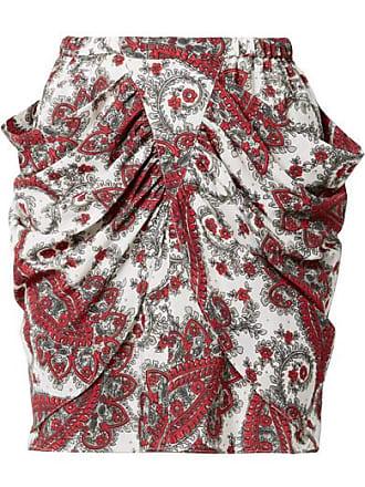 94e89b82db Isabel Marant Tilena Draped Printed Crepe De Chine Mini Skirt - Red