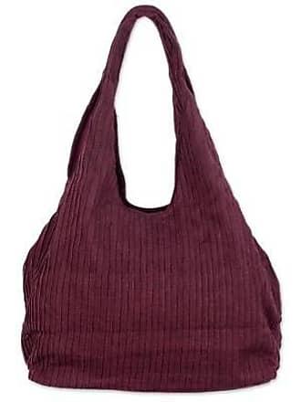 Novica Cotton shoulder bag, Thai Texture in Wine