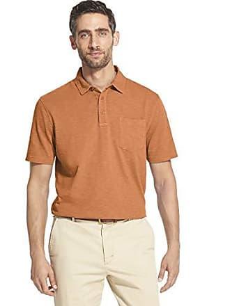 6136f31969ee7c Izod Mens Saltwater Dockside Short Sleeve Slub Solid Polo, Melon, Medium