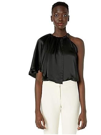 Yigal AzrouËl Charmuse Ruched Neck Blouse (Black) Womens Blouse