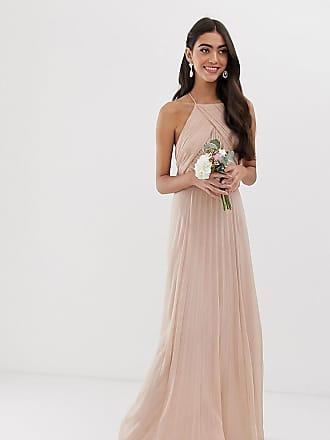 Asos Tall ASOS DESIGN Tall Bridesmaid pinny maxi dress with ruched bodice-Pink