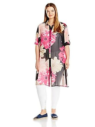 Calvin Klein Womens Short Sleeve Long Printed Tunic, Black/Rose Combo, M