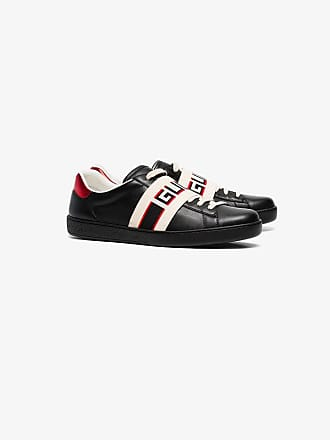 129750b092 Gucci black, red and cream logo stripe leather sneaker