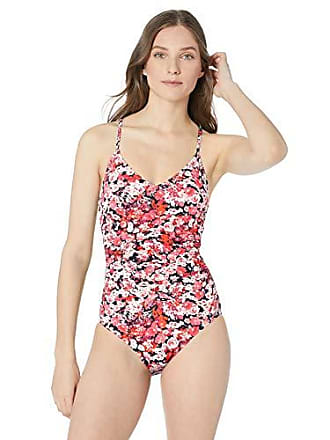 d7d3b3afeb96e Nautica Womens Center Front Shirred One Piece Swimsuit, Marina Print Navy/Pink,  Small
