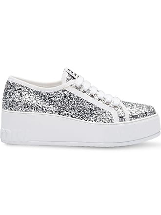 2d4aaee0f56 Miu Miu glitter platform sneakers - F0a0n Silver White