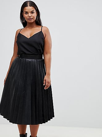 9c12ef41943 Outrageous Fortune Plus pleated pu midi skirt in black