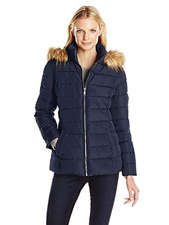 cf1000b5aa613 Tommy Hilfiger Womens Short Front Zip Puffer with Fur Trimmed Hood