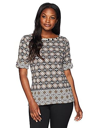 31d4a75c81d Ruby Rd. Womens Roll-Tab Elbow Sleeve Printed Cotton Knit Top, Embellished  Raffia