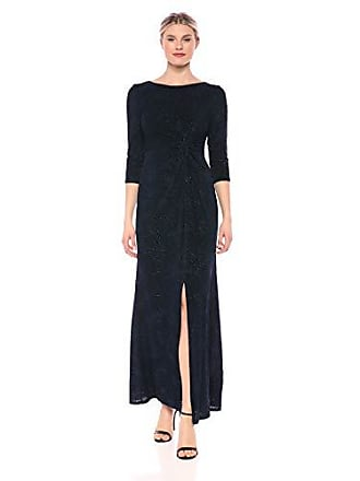 028a52b5 Alex Evenings Womens Long Dress with Knot Front Detail (Petite and  Regular), Navy