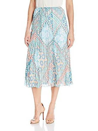 Ruby Rd. Womens Long Gored Broomstick Pleated Yoryu Skirt, Sprout Multi, 18