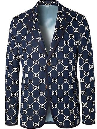 Gucci Navy Logo-jacquard Cotton Blazer - Navy 43fa9eb81129