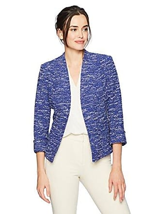 Kasper Womens Wide Lapel Knit Tweed Jacket, iris Multi, 14