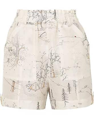 275829cf2fc9 Ganni Printed Linen And Silk-blend Shorts - Cream