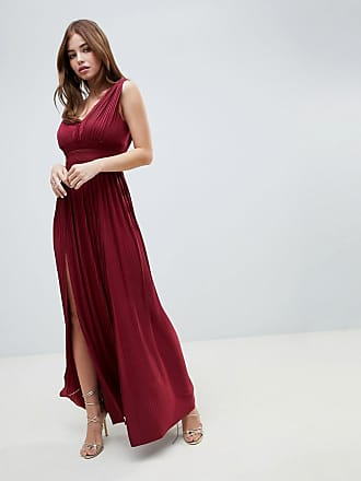 Asos ASOS premium fuller bust lace insert pleated maxi dress - Red
