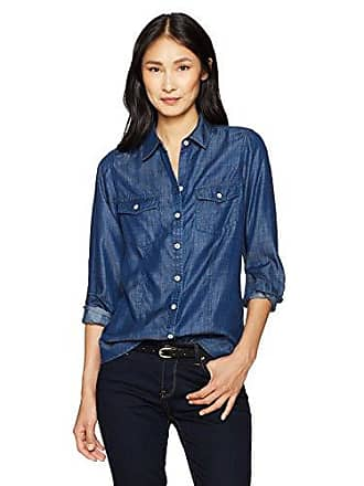 Foxcroft Womens Dylan Solid Denim Tencel Blouse, Navy 14