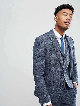 924b3b5cb Asos ASOS TALL Slim Suit Jacket in 100% Wool Harris Tweed In Blue Mini Check