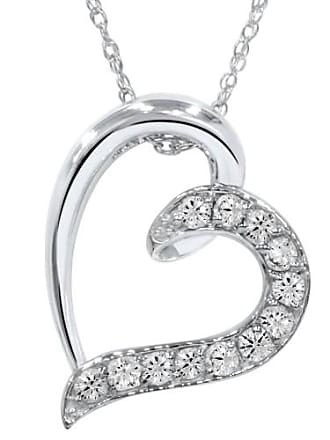 Pompeii3 1/2CT Diamond Heart Pendant 10K White Gold 3/4 Tall