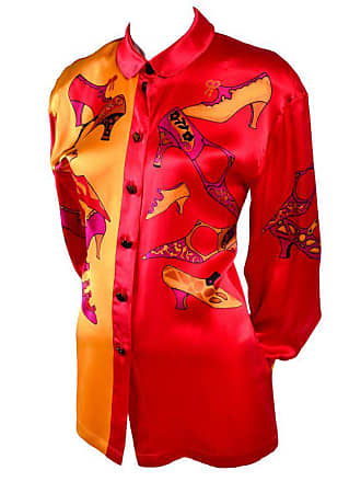 0df1badbdde02 Escada 1980s Escada Blouse In Silk Novelty Print W Stylized Shoes In Red  Pink And Gold