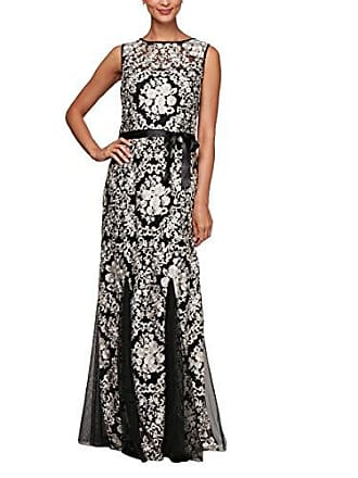 Alex Evenings Womens Embroidered Fit and Flare Gown with Godet Skirt, Black/Champagne, 12