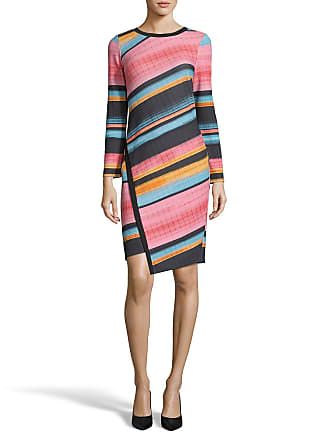 5twelve Multi-Stripe Crewneck Long-Sleeve Dress with Uneven Front