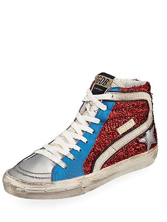 Golden Goose Slide High-Top Textured Metallic Sneakers