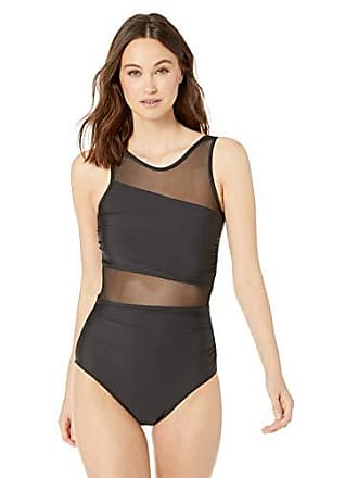 afd342c98a2f0 Athéna Womens Mesh High Neck One Piece Swimsuit with Tummy Control, Samba  Solids Black,