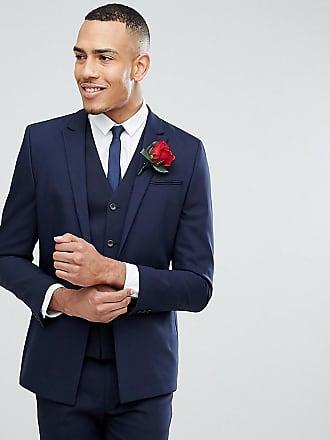 Asos Chaqueta de traje ajustada con bajo cuadrado en azul marino de ASOS  TALL Wedding 34748cef8e7